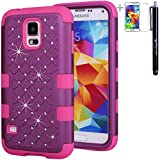 Triple Layer Bling Crystals Rhinestones Rugged Shockproof Dirtproof Hybrid Hard/Soft Case Cover for Samsung Galaxy S5 i9600 + Stylus + Screen Protector - Purple / Hot Pink
