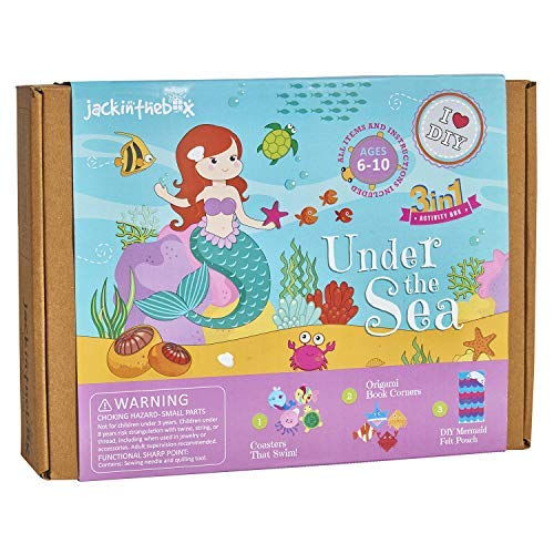 jackinthebox Mermaid Themed Craft Kit | Includes Beautiful Felt Mermaid Sewing Kit | 3 Different Crafts-in-1 | Best Gift for Girls Ages 5 6 7 8 9 10 Years (3-in-1)