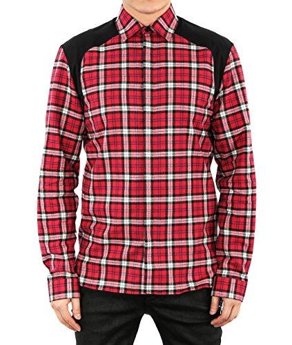 wiberlux-neil-barrett-mens-check-contrast-panel-shirt-41-red