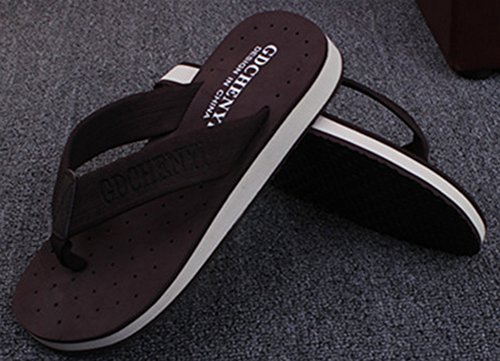 Sfnld Mens Casual Thong Contrast Color Summer Beach Sandals Flip Flops Coffee 4eCUz285nD