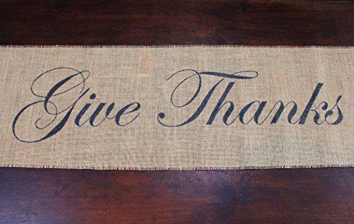 Burlap Table Runner - Give Thanks centered