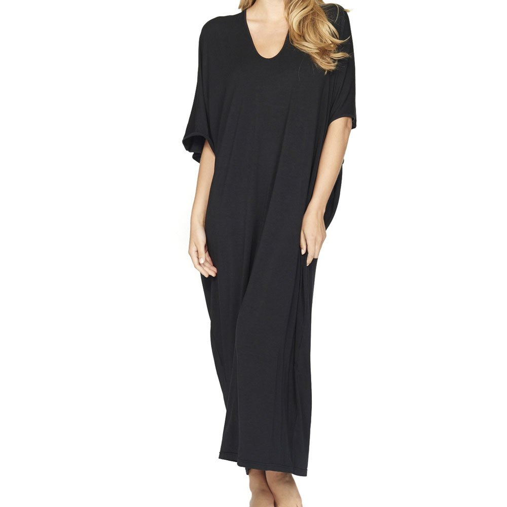 Barefoot Dreams Luxe Milk Jersey Caftan OS Midnight