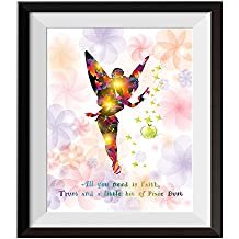 Uhomate Princesss Tinkerbell Peter Pan Never Grow Up Home Canvas Prints Wall Art Anniversary Gifts Baby Gift Inspirational Quotes Wall Decor Living Room Bedroom Bathroom Artwork C015 (11X14)