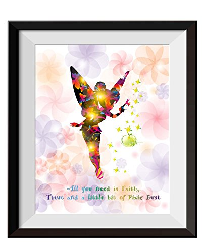 Tinkerbell Decorations (Uhomate Princesss Tinkerbell Peter Pan Never Grow Up Home Canvas Prints Wall Art Anniversary Gifts Baby Gift Inspirational Quotes Wall Decor Living Room Bedroom Bathroom Artwork C015 (8X10))