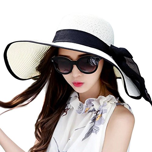 Lanzom Womens Big Bowknot Straw Hat Foldable Roll up Sun Hat Beach Cap UPF 50+ (White)]()