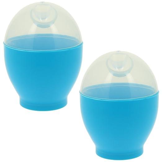 Promobo Juego de 2 cuecehuevos para microondas, color azul ...