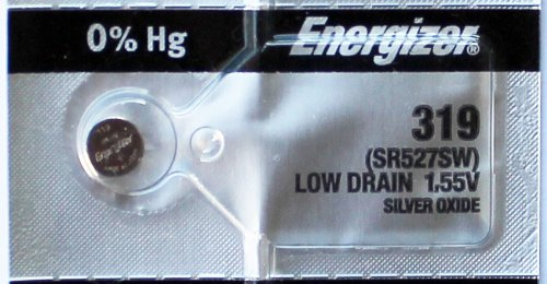 Watch Battery 319 Oxide Silver (2PC Energizer 319 SR527SW 1.55V Silver Oxide Cell Battery - Made in Japan)