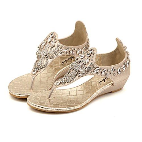NiSeng Mujer Bohemia Piedras De Strass Con Cuentas Sandalias Moda T-Strap Peep Toe Sandalias Verano Clip Toe Sandalias Dorado