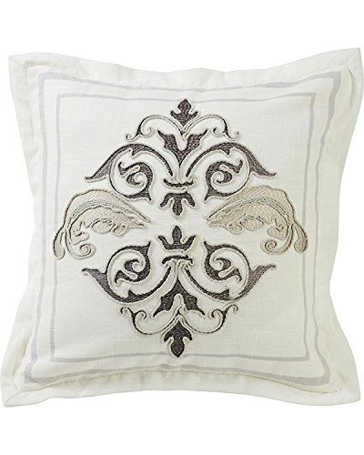 (Hiend Accents Unisex Cream Square Outlined Embroidered Design Pillow with Flange Cream One Size)