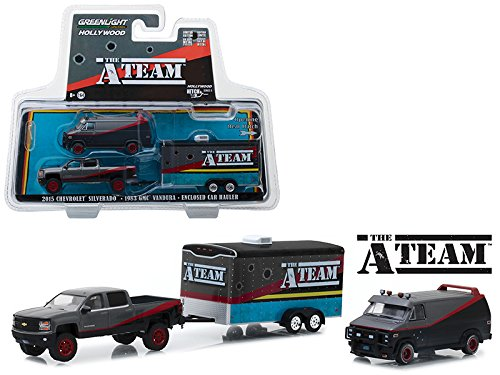 """2015 Chevrolet Silverado with 1983 GMC Vandura and Enclosed Car Hauler with Bullet Holes""""The A-Team"""" (1983-1987) TV Series Hollywood Hitch & Tow Series 5 1/64 Diecast Models by GreenLight 31060B"""