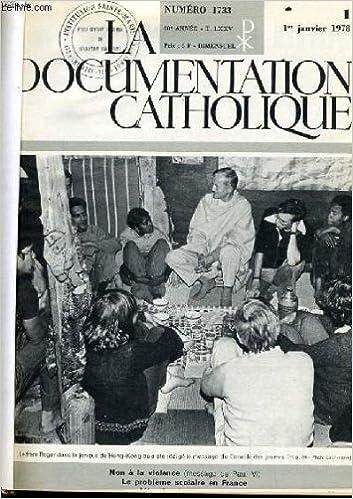 Téléchargements ebook pdf en ligne La documentation catholique n°1 : non à la violence - l e problème scolaire en france B005PUQCZ2 en français