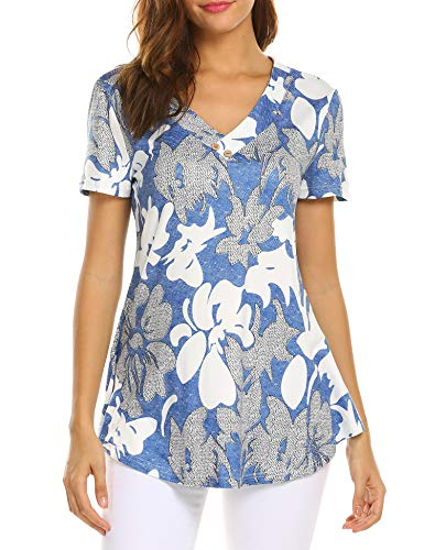(Sweetnight Women Floral Print V Neck Button Decor Peasant Summer Swing Tunic Shirts (Blue, XXL))