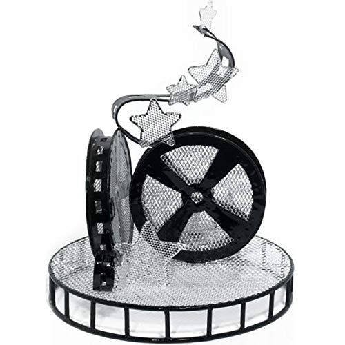 TCDesignerProducts Black Wire Movie Reel Centerpiece Set with Tea Lights, 11 Inches High, Table Decoration, Set of 2 for $<!--$34.99-->