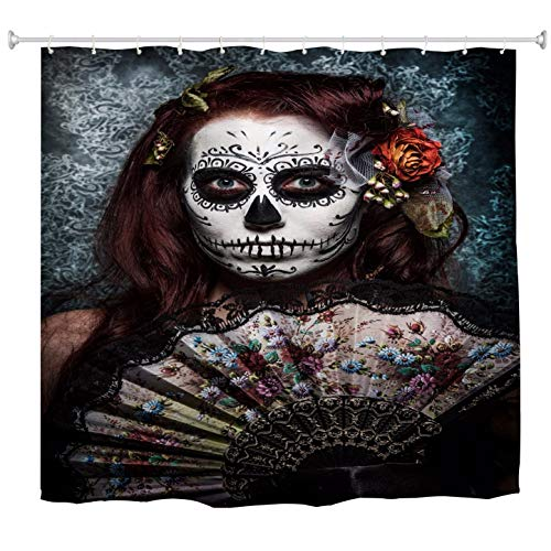 A.Monamour Day of The Dead Holiday Decors Traditional Woman with Painted Face Scary Skull Mask Art Print Fabric Polyester Non Plastic PVC Waterproof Shower Curtain 180X180 cm/ 72X72 Inch ()