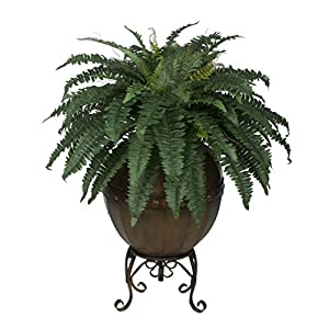House of Silk Flowers Artificial Fern in Designer Pot with Stand 2
