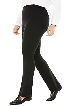 2508e4c1fc7 Woman Within Plus Size Tall Bootcut Ponte Stretch Knit Pant - Black
