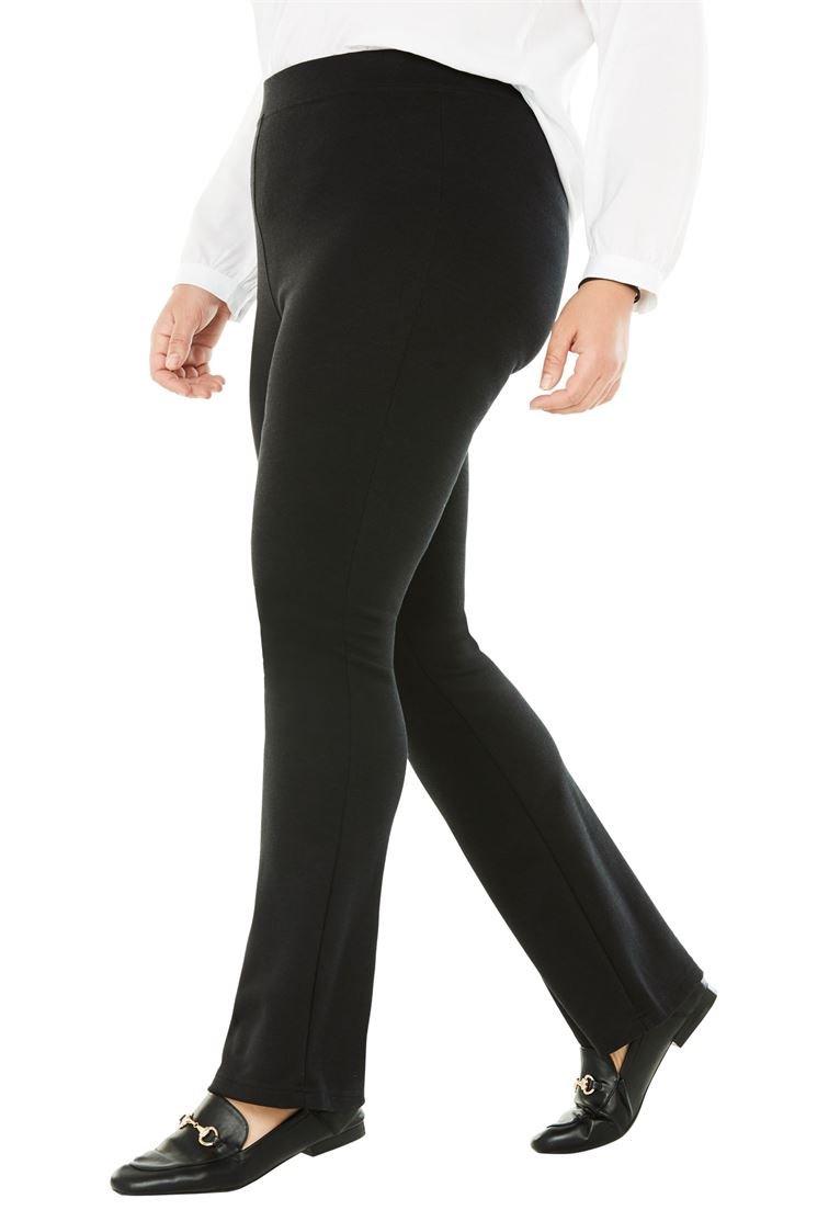 Women's Plus Size Tall Bootcut Ponte Stretch Knit Pant