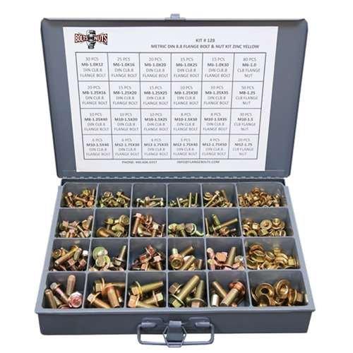 Metric Class 8.8 Hex Cap Flange Frame Bolts & Flange Nuts Assortment Kit - 429 - Small Flange Bolt
