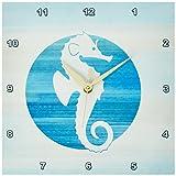 3dRose dpp_152105_1 White Sea Horse in Aqua Circle Beach Theme Art Wall Clock, 10 by 10″