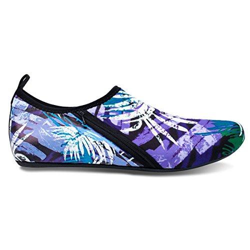 For Aqua Yoga Jiasuqi Womens Swim Water Beach Mens Purple Leaf And Socks Exercise Shoes Summer Surf Outdoor 010zqw