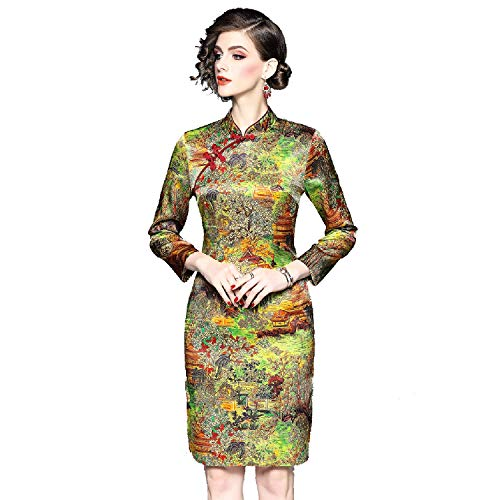 Ladies Seasons Estilo Qípáo Noble Mano Four A Cheongsam Antiguo Chinese Dress Shanghai 15 Vestido Elegante Exquisito Wtug® Bordado Xa6xg6