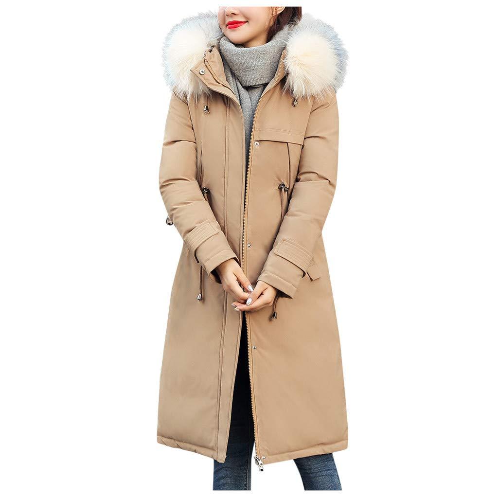 Allywit- Women Faux Suede Long Jacket Button Coat Long Solid Warm Jackets Windbreaker Coats with Big Pocket Khaki by Allywit- Women