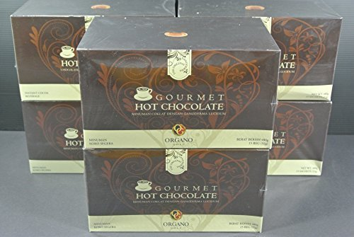 Sachet Gold (6 Organo Gold Gourmet HOT CHOCOLATE with 100% Organic Ganoderma (15 sachets per box) by Organo Gold)