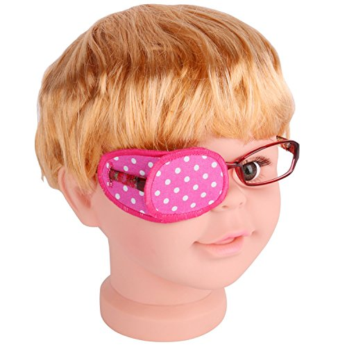 Plinrise Pure Cotton Amblyopia Eye Patch For Glasses,Treat Lazy Eye,Amblyopia And Strabismus,Eye Patch For Children,Regular Size (Pink, White Dot)