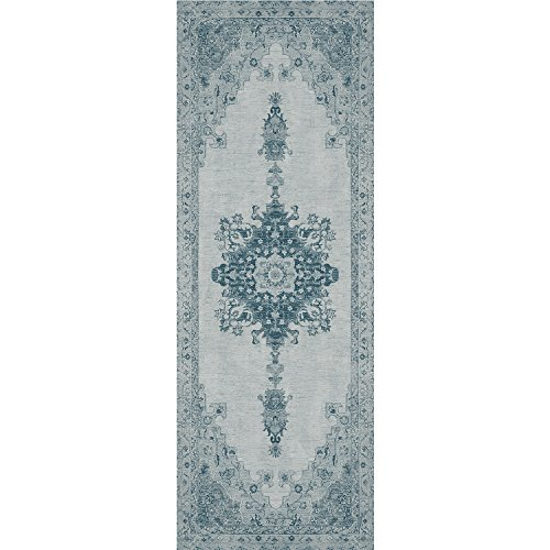 RUGGABLE Washable Stain Resistant Pet Dog Runner Rug for Indoor/Outdoor - Parisa Blue 2.5' x 7' Runner Rug by RUGGABLE