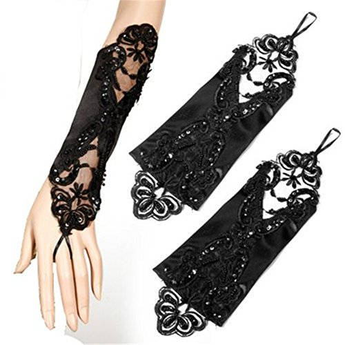 Women's Elbow Lace Satin Gloves Fingers Fingerless Glove for Wedding Formal Party