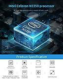 Mini PC,6GB DDR4/ 64GB eMMC Windows 10 Mini Desktop Computer with Fanless Intel Celeron N3350 Processor (Up to 2.4GHz) 2.4G/5G Dual WiFi, HDMI+VGA 4K Dual-Screen Display, BT4.2, USB x4