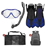 Odoland 5-In-1 Snorkel Set for Kids with Wide View Diving Mask, Dry Top Snorkel, Swim Fins, Carry Mesh Bag and Daily Backpack – Great Diving Gear for Boys and Girls