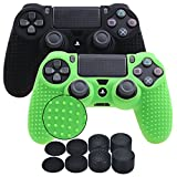 YoRHa Studded Silicone Cover Skin Case for Sony PS4/slim/Pro controller x 2(black+green) With Pro thumb grips x 8 Review