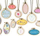 Misscrafts Mini Wood Embroidery Hoops 7 Sets Oval&Round for Pendants Necklace Jewellery Orament Making Craft