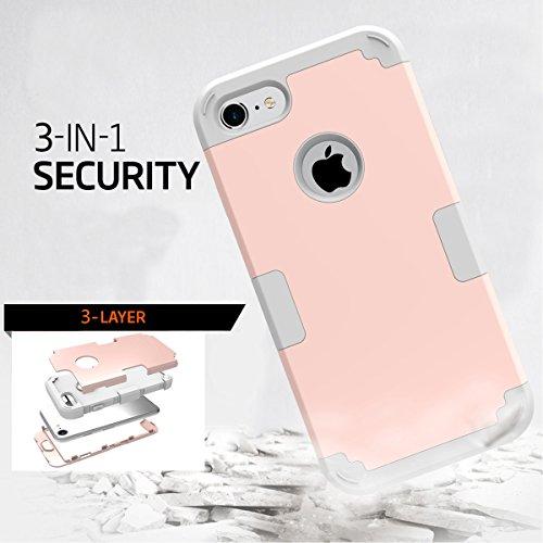 iPhone 7 Hülle, Moonmini® Rosen-Gold + Grau Handyhülle 3 in 1 Heavy Duty Hybrid Armor Schutzhülle Tasche Cover Case für iPhone 7