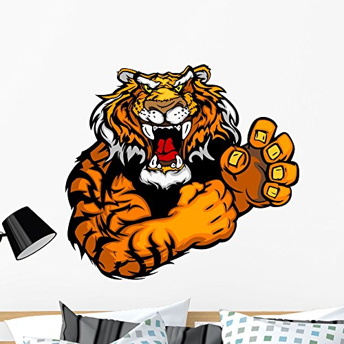 Wallmonkeys WM315610 Graphic Vector Image of a Tiger Mascot with Fighting Hands Peel and Stick Wall Decals (36 in W x 33 in H), Large
