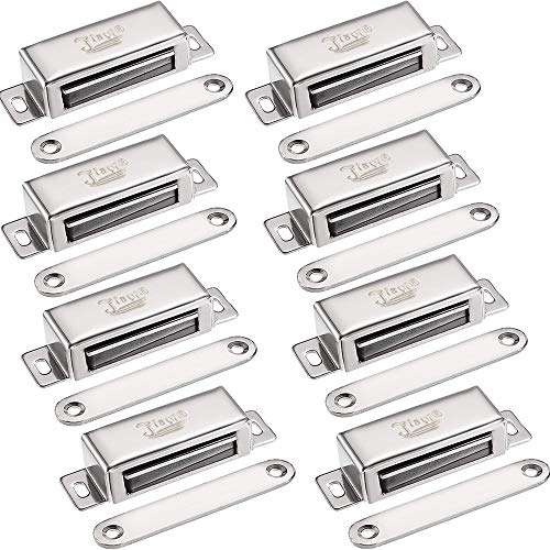 Heavy Magnetic Catch Duty - Magnetic Door Latch Jiayi 8 Pack Cabinet Magnet 40 lbs Magnetic Door Catch Hardware Stainless Steel RV Cabinet Latches and Catches for Kitchen Drawer Cupboard Door Closer Closet Door Magnets Closure