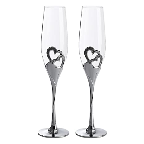 2 Piece Wedding Champagne Glasses Wine Glass Cocktail Glasses Creative Goblet Heart Shaped