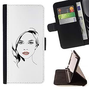 Momo Phone Case / Flip Funda de Cuero Case Cover - fille Blanc Noir - Apple Iphone 5C