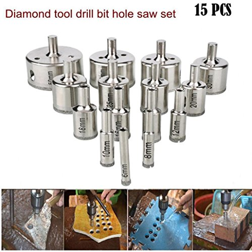 15pcs Diamond tool drill bit hole saw set for glass ceramic marble 6-50mm pro,Tuscom (Silver) (Pro Diamond Hole Saw)