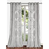 """Ifblue Window Treatment - Light Filtering Cutting Velvet Sheer Window Curtain Panel With Grommet Top (2-Pack, One Pair) (52""""X84"""", Grey)"""