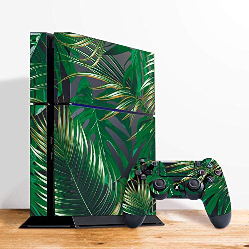 Stickers Pack For PS4 Tropical Palm Leaves Floral Clear Decal Set For Play Station 4 Slim Console Stickers Skin Vinyl Dualshock Controller Sticker RS3319