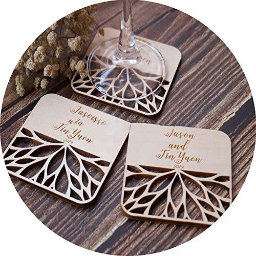 Coaster Lounge Personalized - Wedding Wooden Custom Coasters, Personalized Coasters,Engraved Coasters,Wedding Gift Coasters,70pcs