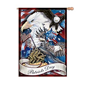 Patriots Day Decorative Indoor And Outdoor Flag With Eagle Art By Jody Bergsma by The Hamilton Collection