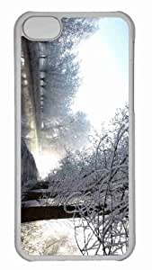 Customized iphone 5C PC Transparent Case - Winter River Scene Personalized Cover