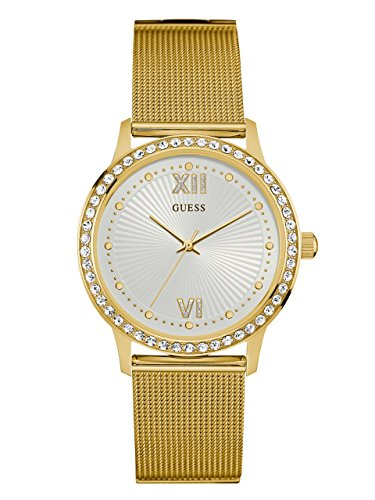 GUESS-Womens-Gold-Tone-Elegant-Mesh-Watch