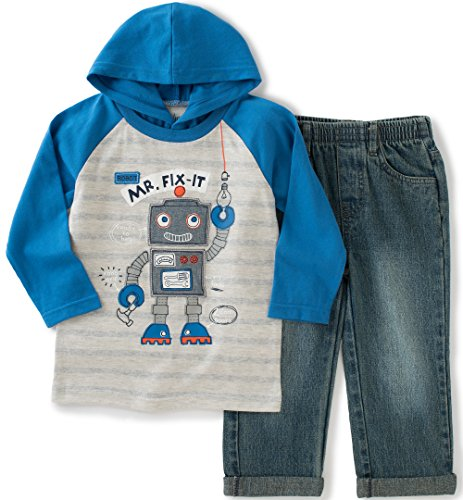 Kids Headquarters Baby Hooded Jersey With Jeans Set, Blue, 18 Months Joker Jeans