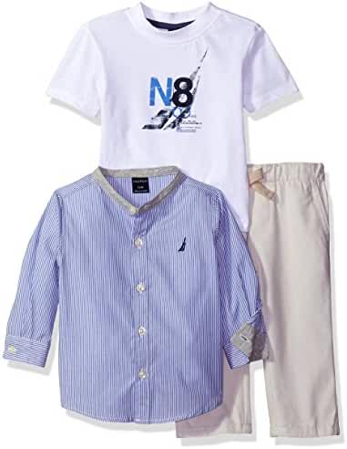 Nautica Baby Boys' Three Piece Set with Long Sleeve Plaid Woven Shirt, Tee and Pant