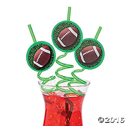 6 USA American Football Straws Crazy Party Supplies Tailgating Fun (Football) - Special Agent Oso Party Supplies