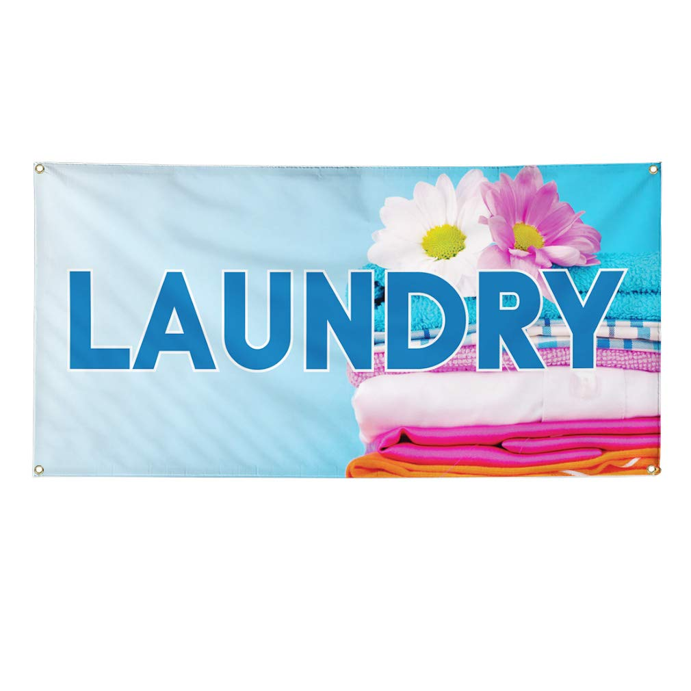 24inx60in 4 Grommets Vinyl Banner Sign Laundromat #1 Business Outdoor Outdoor Marketing Advertising Blue Set of 3 Multiple Sizes Available